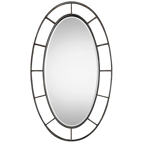 """Uttermost Gilliam Aged Bronze 34"""" x 58"""" Oval Wall Mirror"""