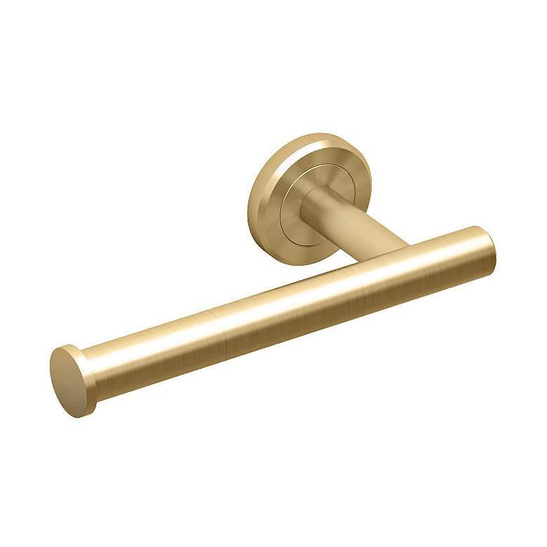 """Gatco Latitude II Matte Brass 6 3/4"""" Wide Euro Tissue Holder"""