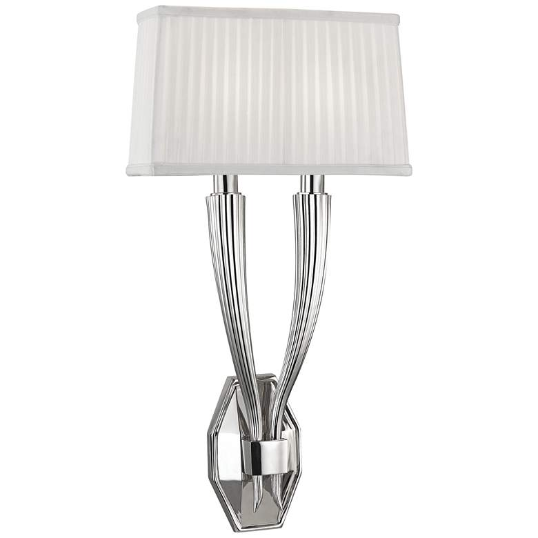 """Hudson Valley Erie 21"""" High Polished Nickel Dual Wall Sconce"""