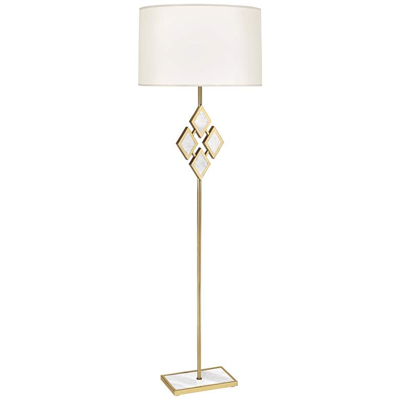 """Edward 62""""H Brass and White Marble White Shade Floor Lamp"""