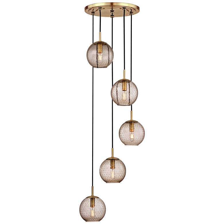 "Rousseau 13 1/2""W Brass and Bronze Glass Multi-Light Pendant"
