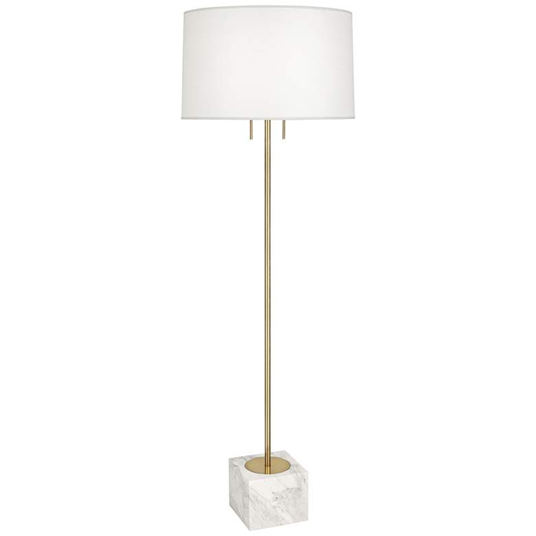 Jonathan Adler Canaan Brass with Oyster Shade Floor Lamp