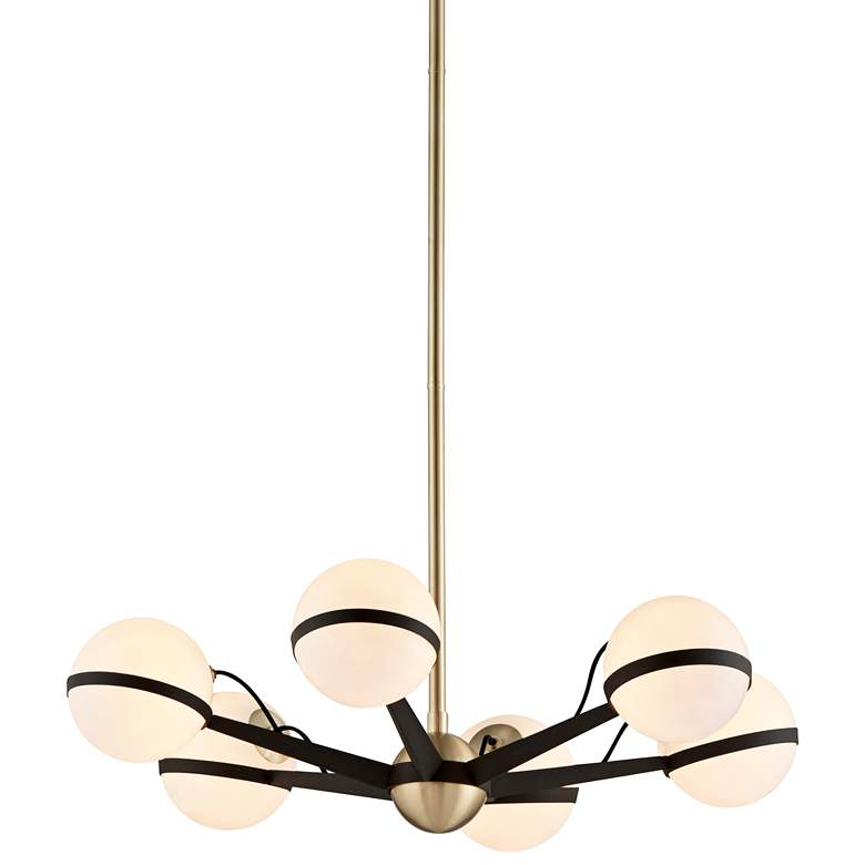 """Ace 27 3/4""""W Textured Bronze and Brushed Brass Chandelier"""