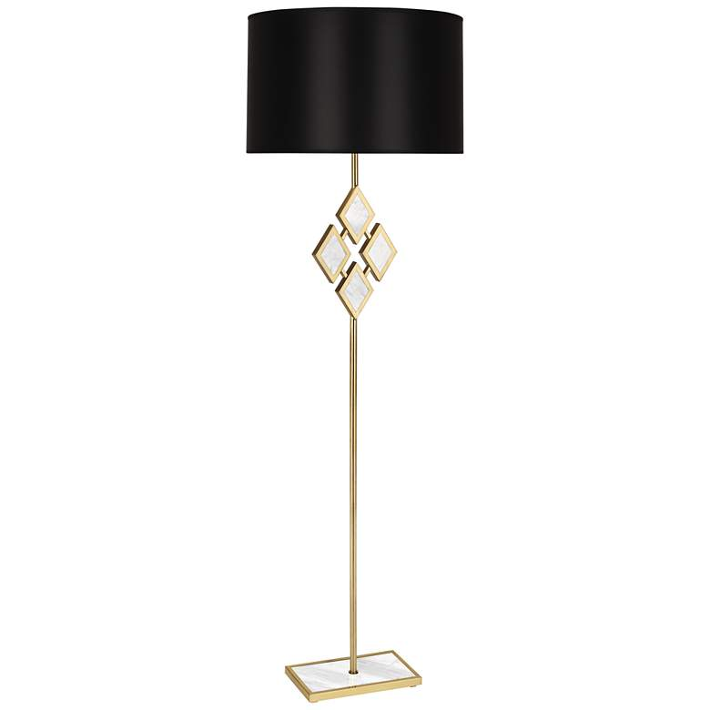 """Edward 62"""" High Brass and White Marble Floor Lamp"""