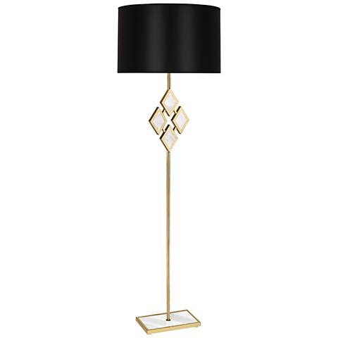 Edward Brass and White Marble with Black Shade Floor Lamp