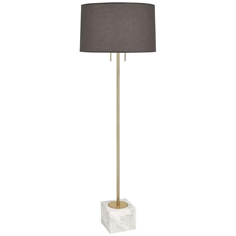 Jonathan Adler Canaan Brass with Gray Shade Floor Lamp
