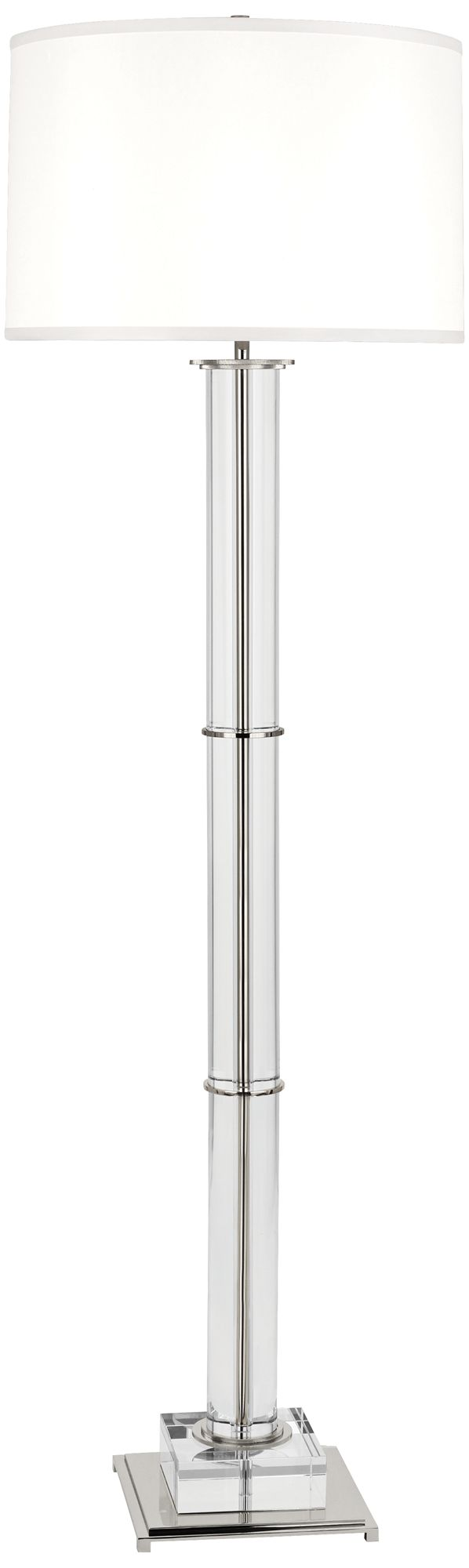 Finnie Polished Nickel And Clear Crystal Floor Lamp