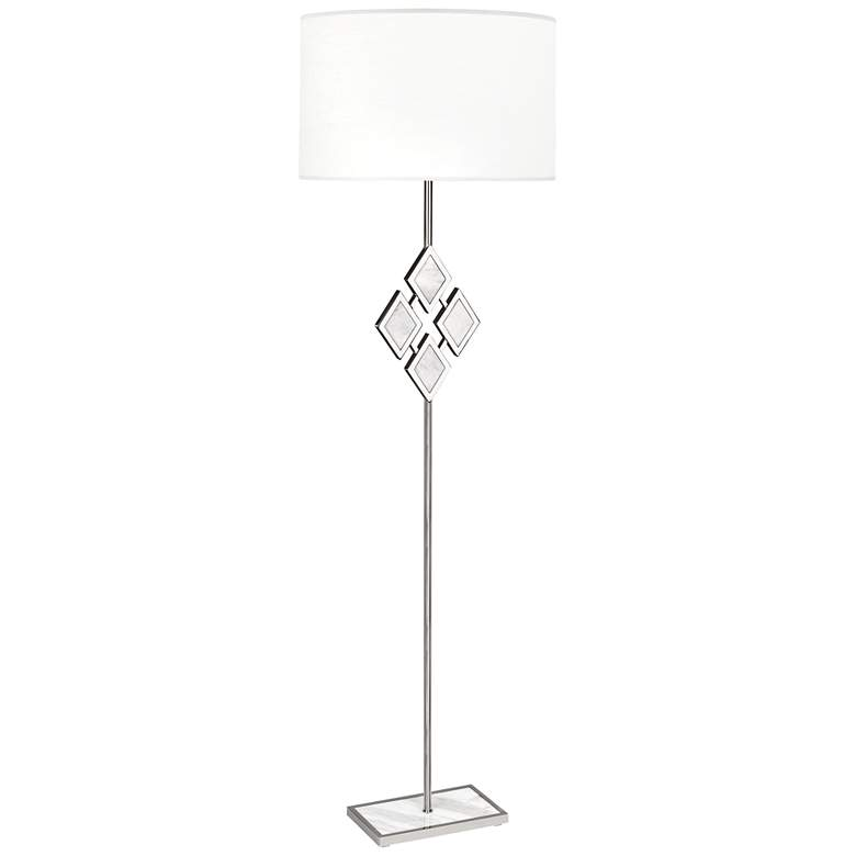 """Edward 62""""H Nickel and White Marble White Shade Floor Lamp"""