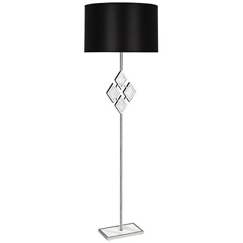 Edward Nickel and White Marble with Black Shade Floor Lamp