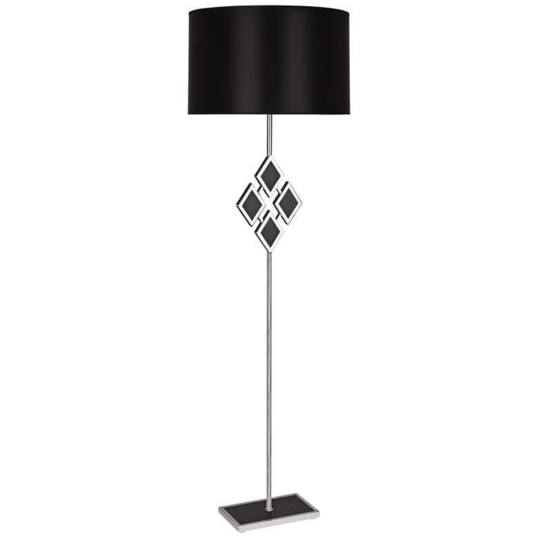 "Edward 62"" High Nickel and Black Marble Floor Lamp"