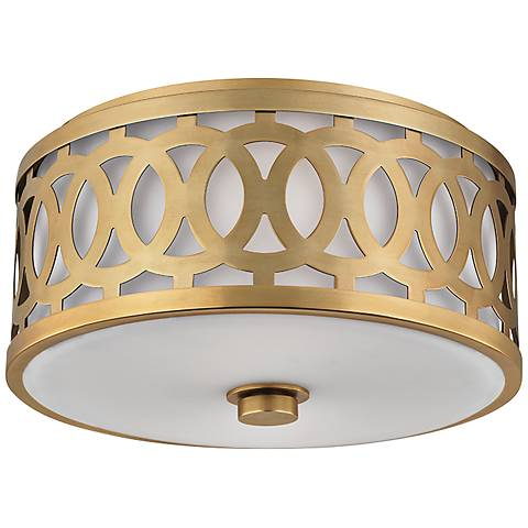 "Hudson Valley Genesee 13 1/2"" Wide Aged Brass Ceiling Light"