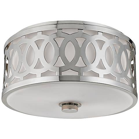 "Hudson Valley Genesee 13 1/2""W Polished Nickel Ceiling Light"