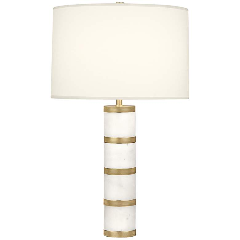 Robert Abbey Wyatt Modern Brass with White Shade Table Lamp