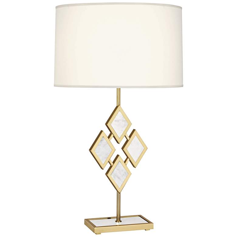 Edward Brass and White Marble with White Shade Table Lamp