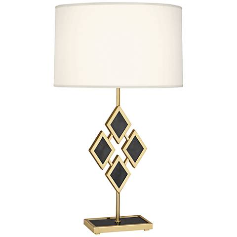 Edward Brass and Black Marble with White Shade Table Lamp