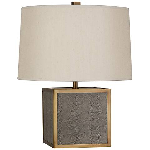 Robert Abbey Anna Faux Snakeskin and Brass Cube Accent Lamp