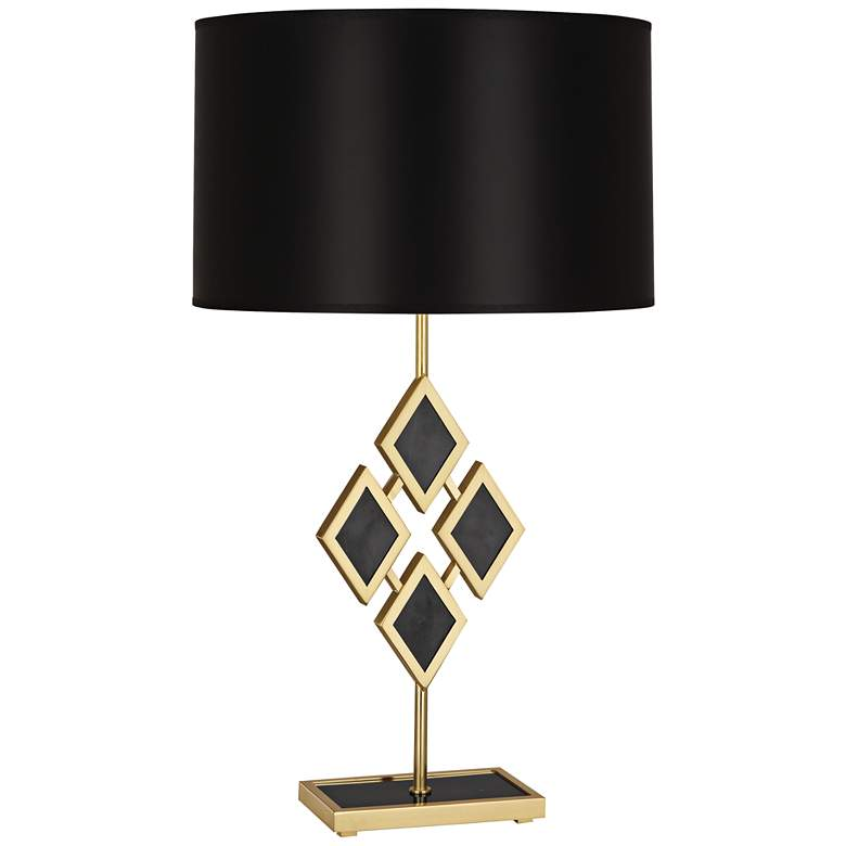 Edward Brass and Black Marble with Black Shade Table Lamp