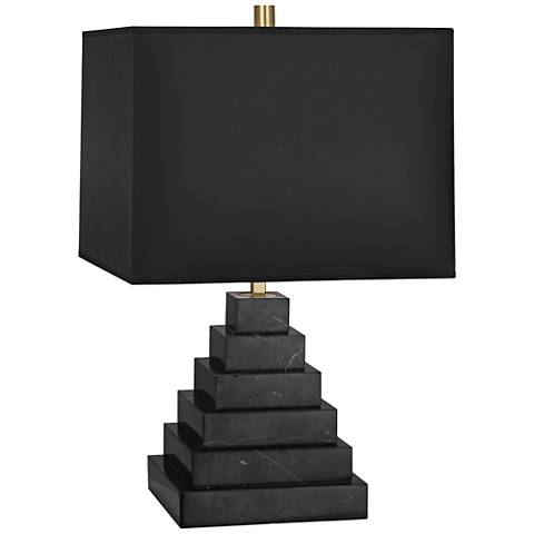 Jonathan Adler Canaan Black Shade Marble Tapered Table Lamp