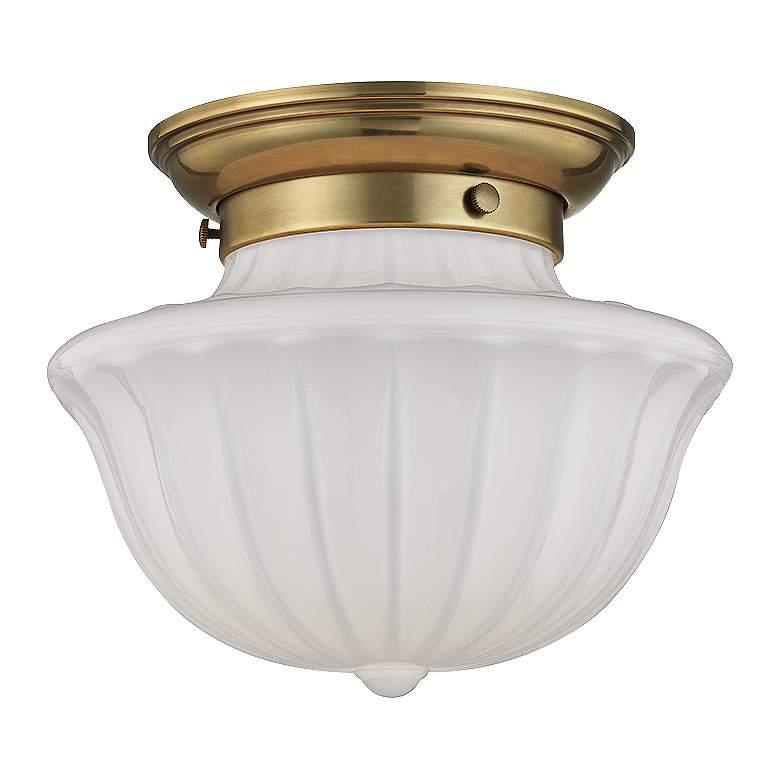 """Hudson Valley Dutchess 9"""" Wide Aged Brass Ceiling Light"""