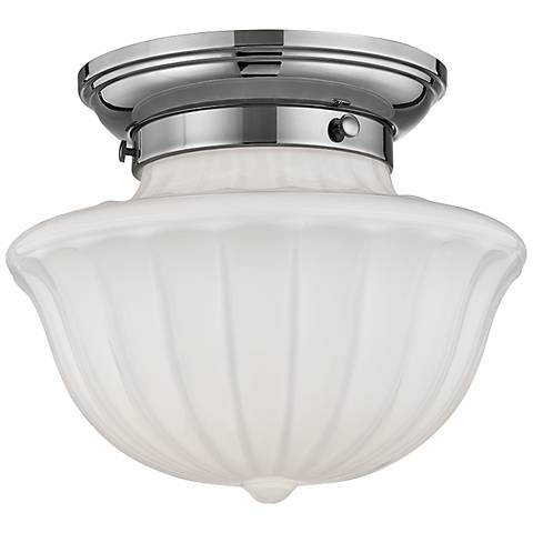 "Hudson Valley Dutchess 9"" Wide Polished Nickel Ceiling Light"
