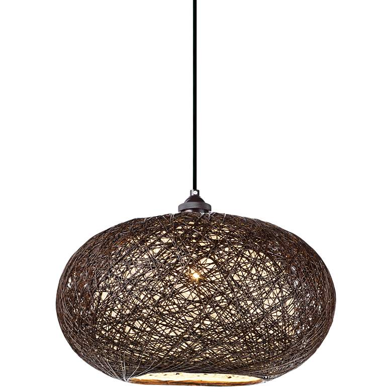 "Maxim Bali 15 3/4""W Chocolate Weave Outdoor Pendant Light"