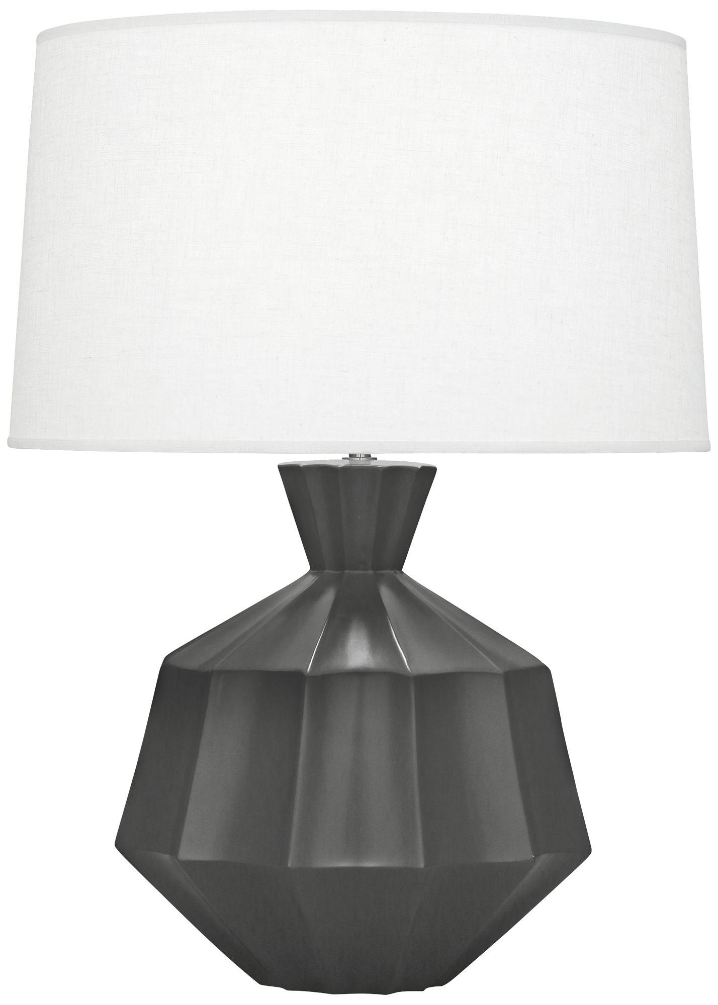 Delightful Robert Abbey Orion Matte Ash Black Ceramic Table Lamp