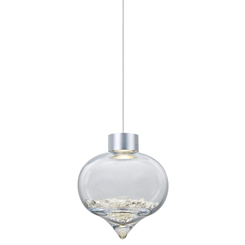 "Besa Terra 8"" Wide Satin Nickel LED Mini Pendant"