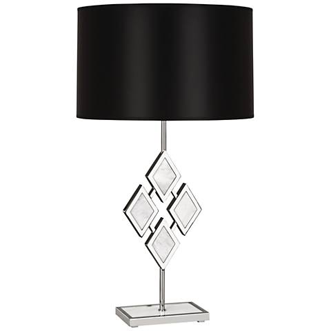 Edward Nickel and White Marble with Black Shade Table Lamp