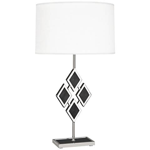 Edward Nickel and Black Marble with White Shade Table Lamp