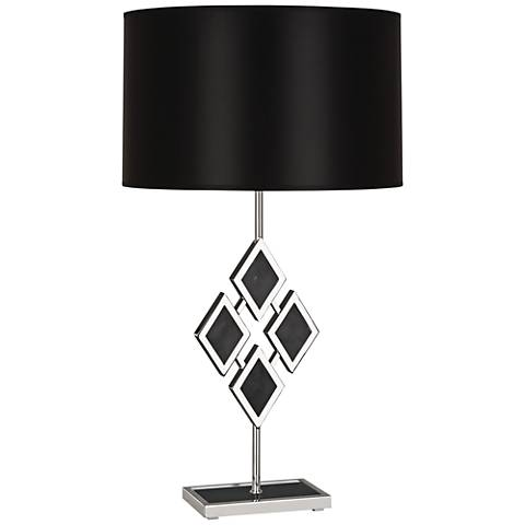Edward Nickel and Black Marble with Black Shade Table Lamp