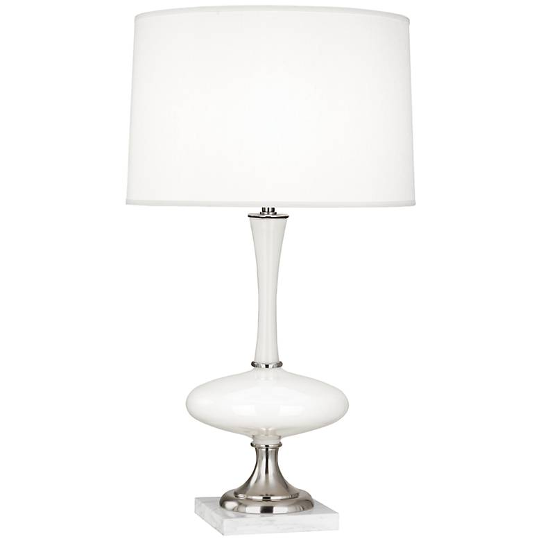 Robert Abbey Raquel White Glass and Nickel Table Lamp