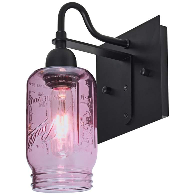 "Besa Milo 10 3/4""H Purple Ball Jar Glass Wall Sconce"