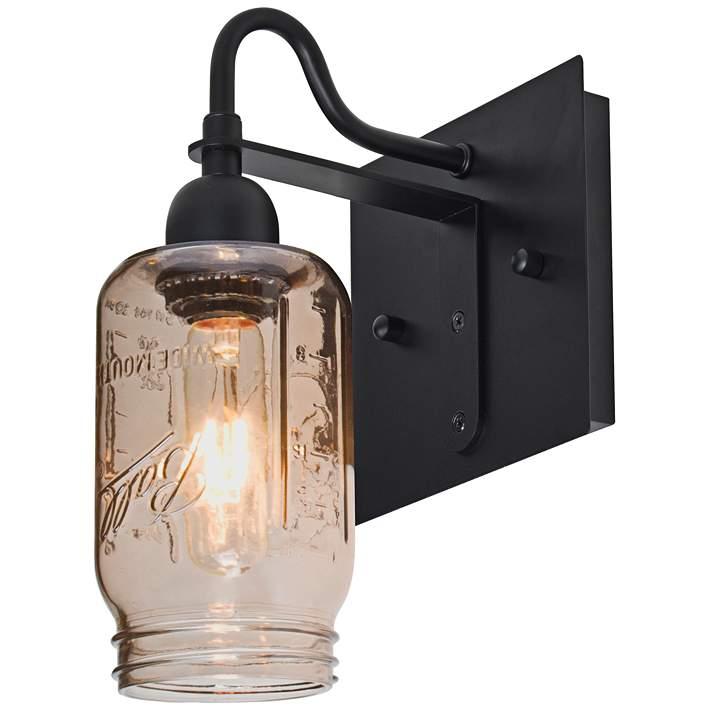 LNC Glass Mason Jar Wall Sconces 3-Light Wall Lamps Sconces Wall Lighting Use