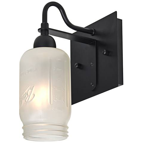 "Besa Milo 10 3/4""H Black White Frost Wall Sconce"