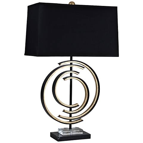 Spiral Black and Gold Marble Table Lamp