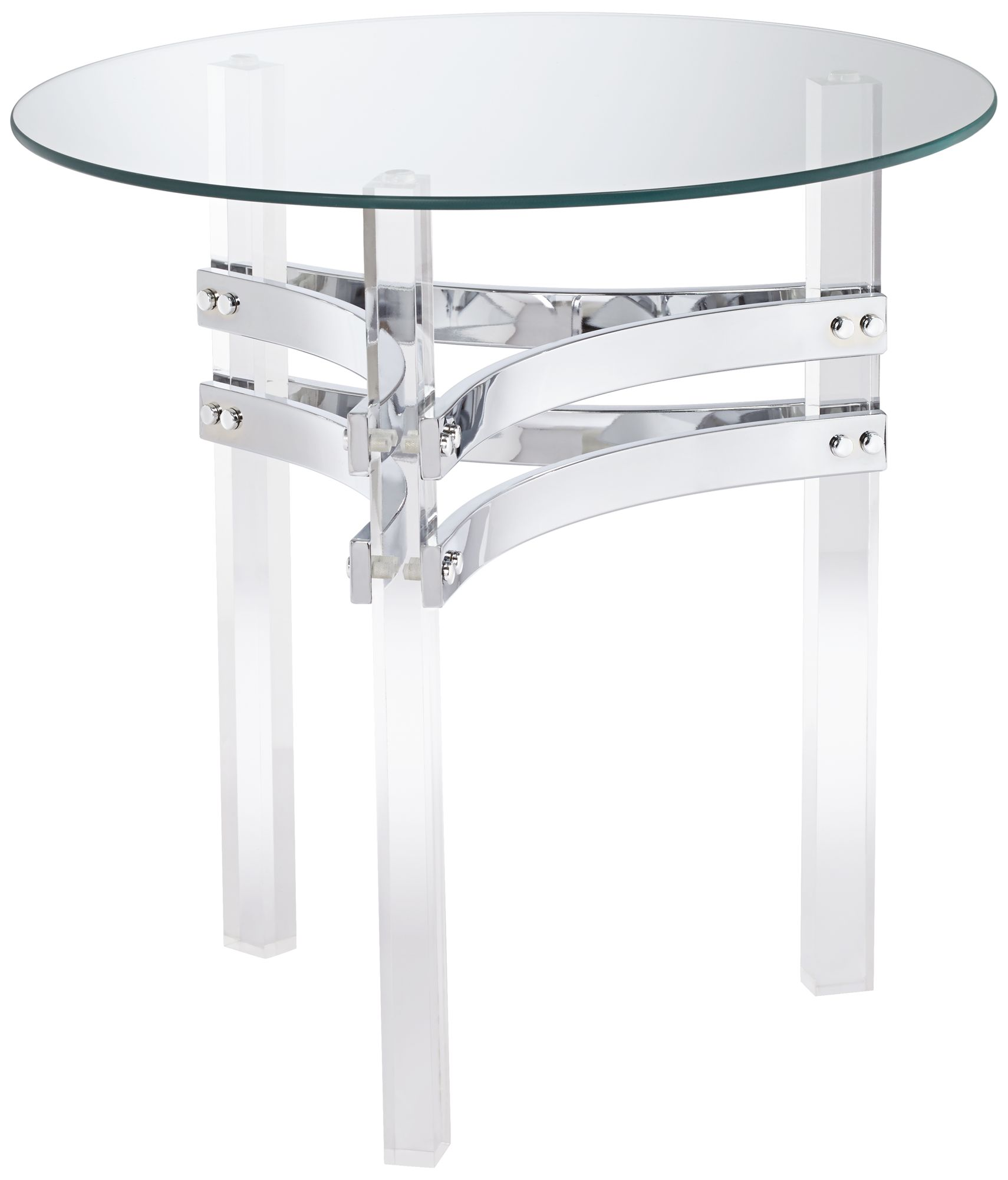 Great Serenity Glass Top And Clear Acrylic Round Accent Table