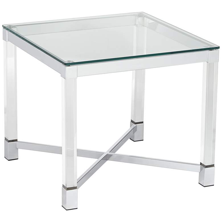 """Jenna Chrome and Acrylic 22"""" Square Modern Accent Table"""