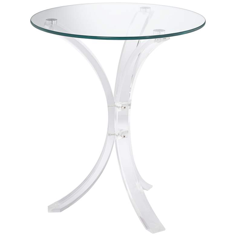 "Felicity 18"" Wide Glass and Clear Acrylic Round Accent Table"