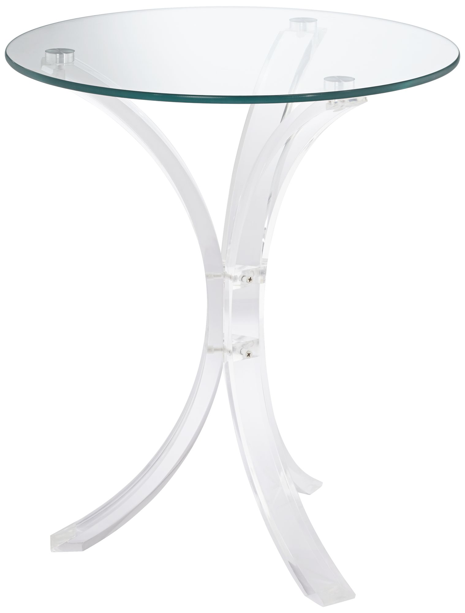 Felicity Glass Top And Clear Acrylic Round Accent Table   #9T049 | Lamps  Plus