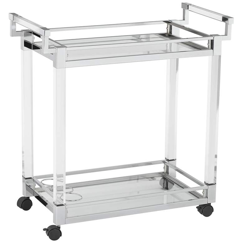 "Clear Acrylic & Chrome 32 3/4"" Wide Rolling Serving Bar Cart"
