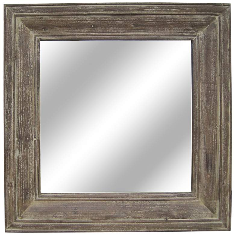 """Grant Distressed Wood 33 1/2"""" Square Wall Mirror"""