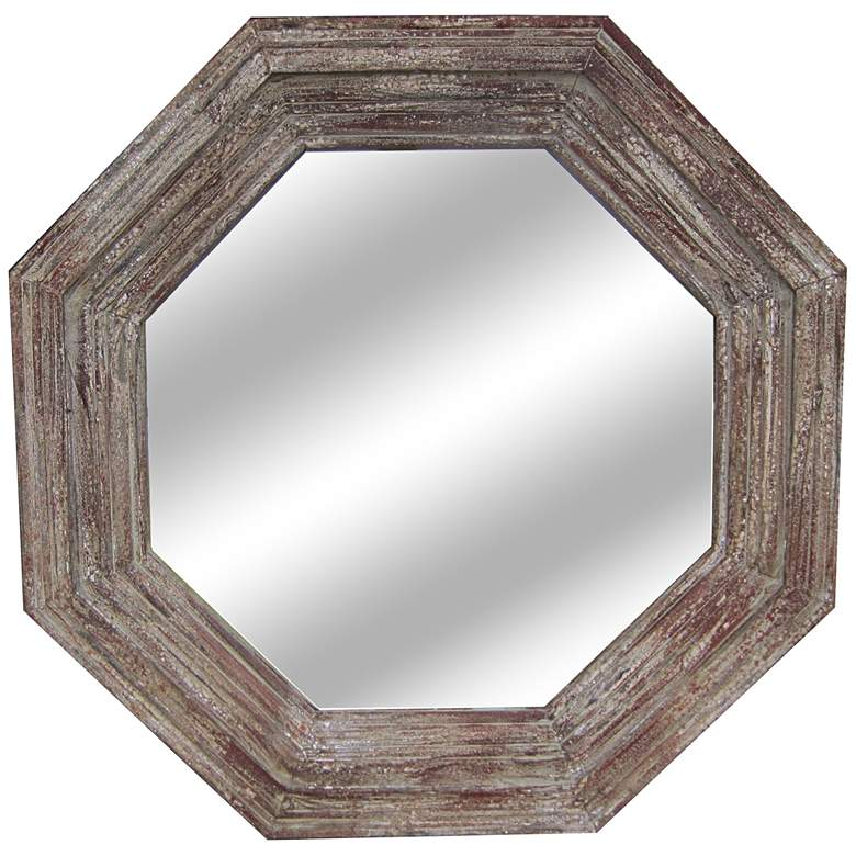 "Paxton Distressed Wood 32"" Octagonal Wall Mirror"