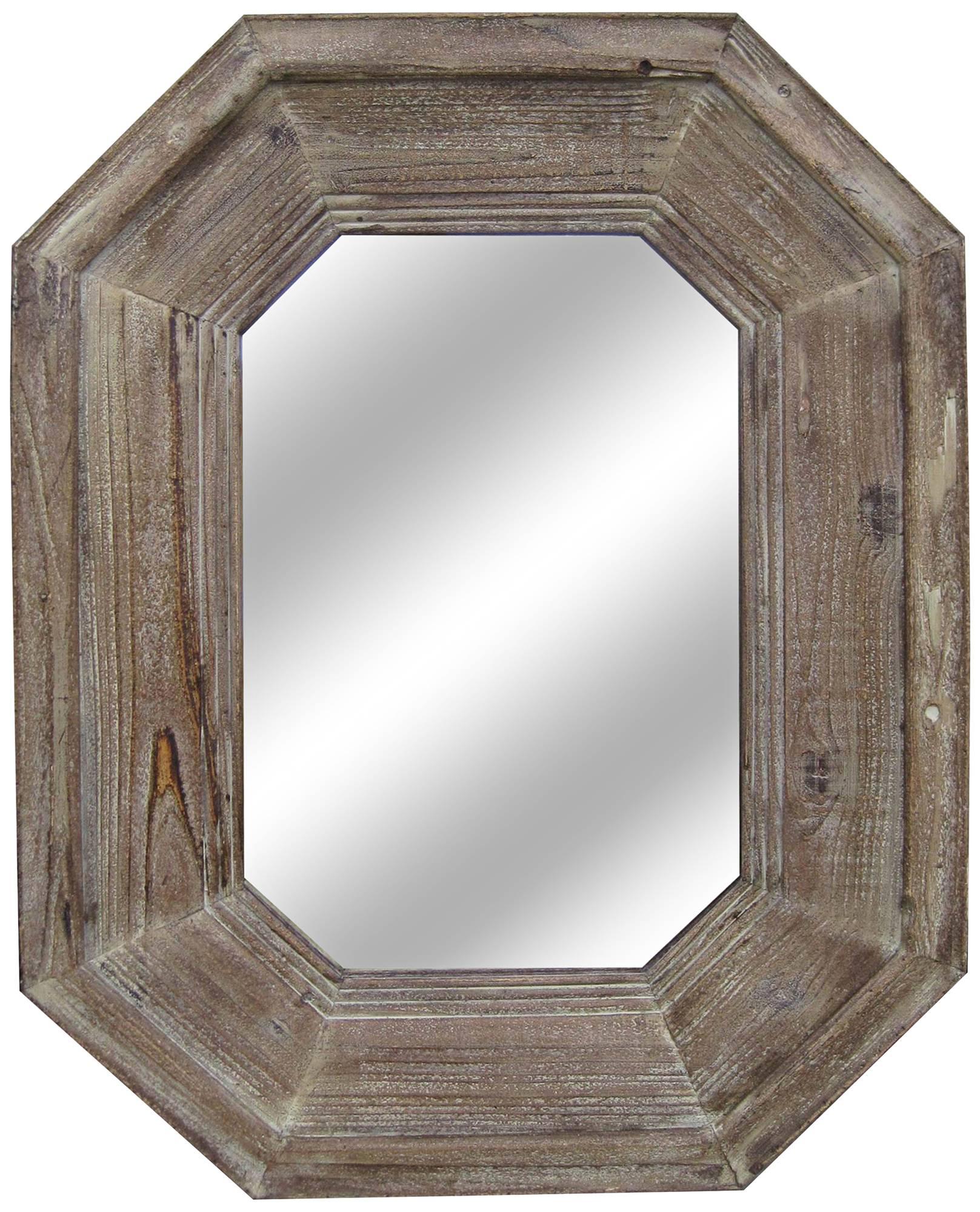 Sawyer distressed wood 28 x 36 1 2 octagon wall mirror