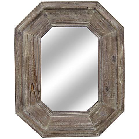 Sawyer Distressed Wood 28 X 36 1 2 Octagon Wall Mirror