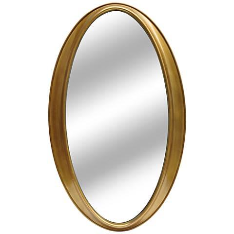 "Tegan Gold Leaf 24""x40"" Decorative Oval Mirror"