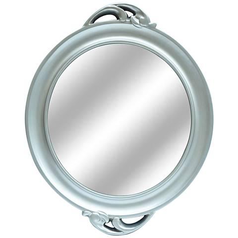 "Catalina Antiqued Silver 26"" x 32"" Round Mirror"