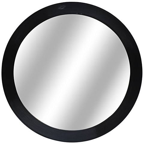 "Halle Glossy Black 36"" Round Decorative Wall Mirror"