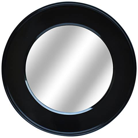 "Bryn Glossy Black 32"" Round Decorative Wall Mirror"