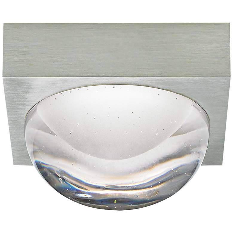 """Sphere 4 3/4"""" Wide Satin Nickel Cast Clear LED Ceiling Light"""