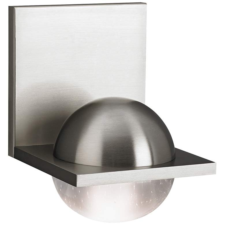 """Tech Sphere 6 3/4""""H Satin Nickel Cast Clear LED Wall Sconce"""